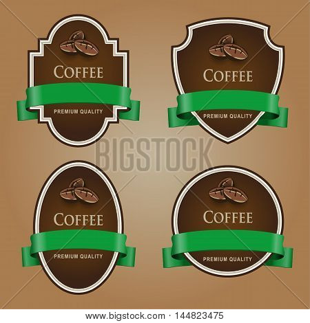 Set of dark labels with green tape. Coffee theme. Grouped for easy editing. Perfect for labels for coffee chocolate liquor shampoo shower gel and etc.