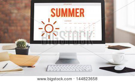 Summer Holiday Calendar Sun Graphic Concept
