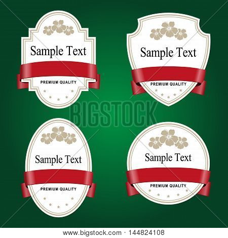 Set of white labels with red tape. Grouped for easy editing. Perfect for labels for wine tea liquor shampoo shower gel and etc.