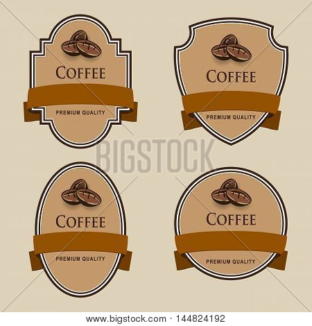 Set of labels with brown tape. Coffee theme.. Grouped for easy editing. Perfect for labels for coffee chocolate liquor shampoo shower gel and etc.