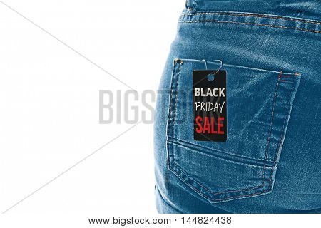 Sale label on female jeans, isolated on white