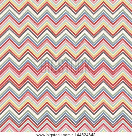 Fashion Zigzag Pattern In Retro Colors