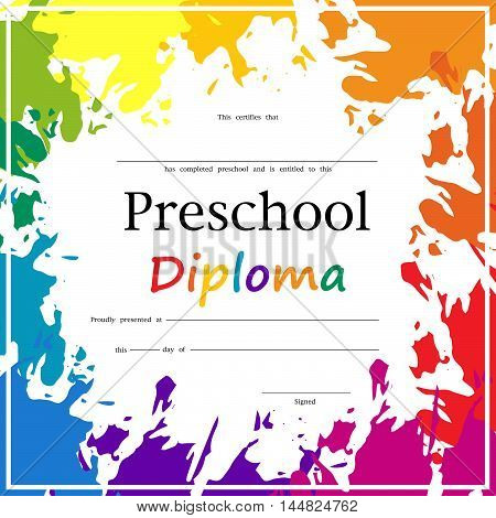 Vector illustration of the school diploma.Preschool Elementary school Kids Diploma