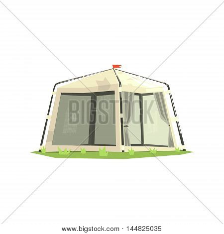 White Sportive Camping Tent. Cool Colorful Vector Illustration In Stylized Geometric Cartoon Design On White Background