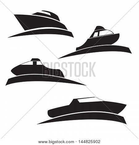 Vector a set of silhouettes of motor boats on water in flat style. Elements of design of booklets, infographics, icons of games.