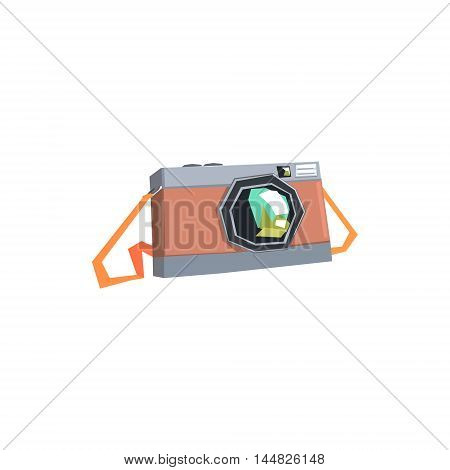 Vintage Film Camera On Belt. Cool Colorful Vector Illustration In Stylized Geometric Cartoon Design On White Background