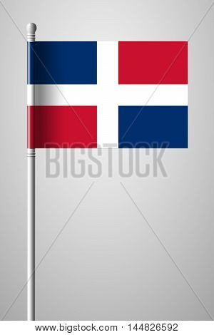 Flag Of Dominican Republic. National Flag On Flagpole