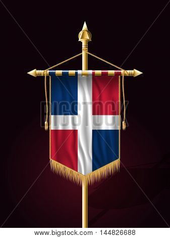 Flag Of Dominican Republic. Festive Banner Vertical Flag With Flagpole