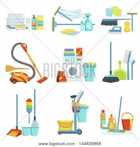 Cleaning Household Equipment Sets. Clean Up Special Objects And Chemicals Compositions Collection Of Realistic Objects. Flat Vector Drawings On White Background