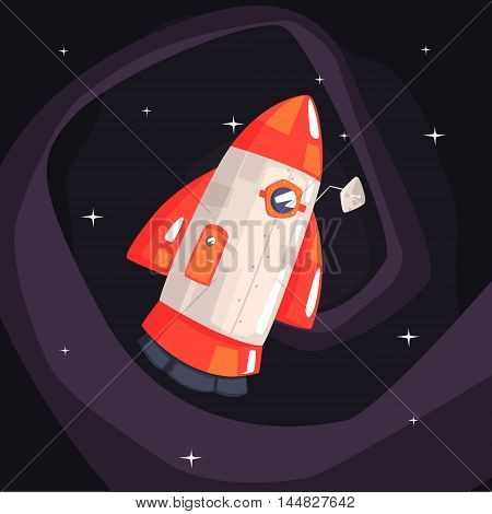 Classic Rocket Spaceship With Satellite Dish On Dark Night Sky Background. Cool Colorful Cosmic Fantasy Vector Illustration In Stylized Geometric Cartoon Design