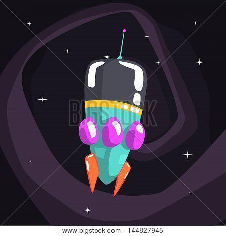 Alien Rocket Spaceship Is Classic Design On Dark Night Sky Background. Cool Colorful Cosmic Fantasy Vector Illustration In Stylized Geometric Cartoon Design