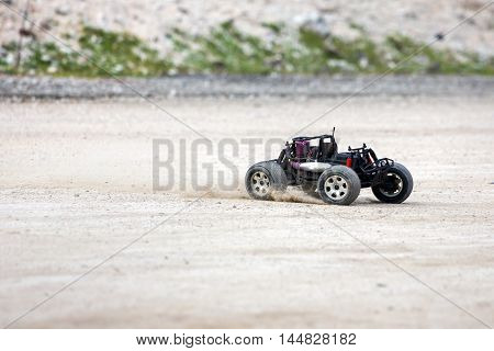 Radio Controlled Car Model In Race
