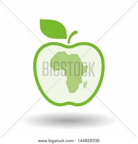 Isolated  Line Art  Apple Icon With  A Map Of The African Continent