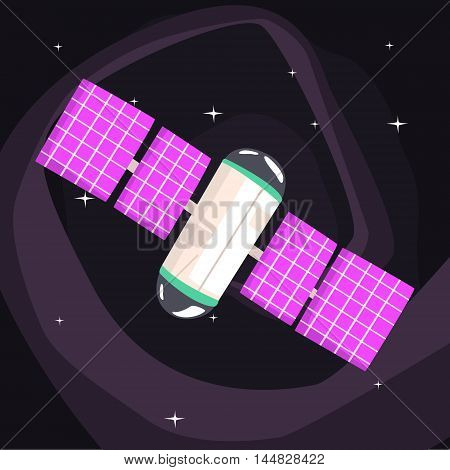 International Space Station With Solar Panels Unfolded On Dark Night Sky Background. Cool Colorful Cosmic Fantasy Vector Illustration In Stylized Geometric Cartoon Design