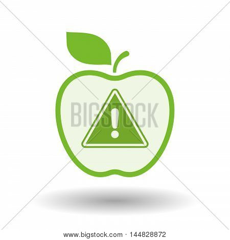 Isolated  Line Art  Apple Icon With A Warning Signal