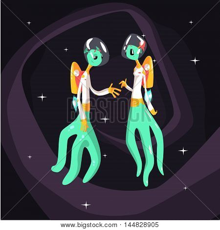 Two Green Extraterrestrial Beings In Space Suits On Dark Night Sky Background. Cool Colorful Cosmic Fantasy Vector Illustration In Stylized Geometric Cartoon Design
