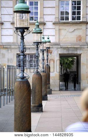 Lamppost in Rigsdagsgarden Christiansborg palace Slotsholmen in Copenhagen Denmark