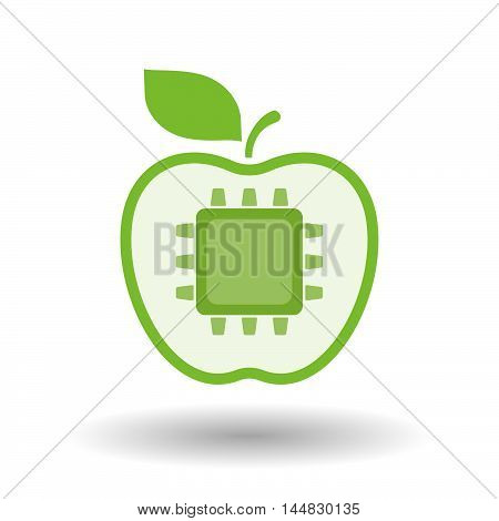 Isolated  Line Art  Apple Icon With A Cpu