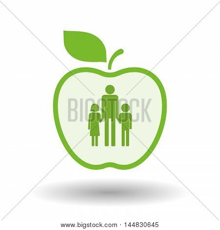 Isolated  Line Art  Apple Icon With A Male Single Parent Family Pictogram
