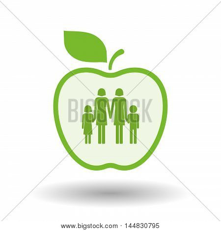 Isolated  Line Art  Apple Icon With A Lesbian Parents Family Pictogram