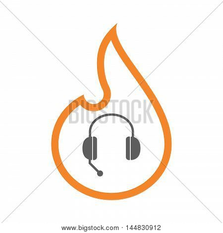 Isolated  Line Art  Flame Icon With  A Hands Free Phone Device