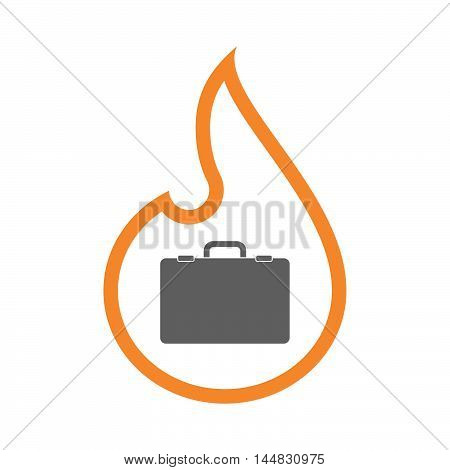Isolated  Line Art  Flame Icon With  A Briefcase