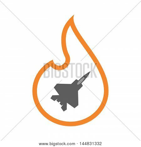 Isolated  Line Art  Flame Icon With A Combat Plane