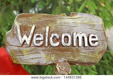 Welcome writing on wooden background