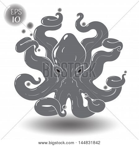 Octopus. Can hold in tentacles some objects. EPS 10 Isolated object