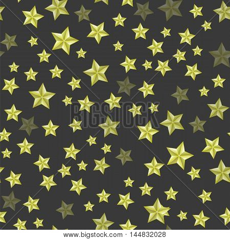 Set of Yellow Stars on Dark Background. Seamless Starry Pattern.