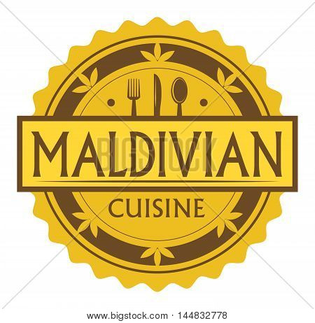 Abstract stamp or label with the text Maldivian Cuisine written inside, traditional vintage food label, with spoon, fork, knife symbols, vector illustration