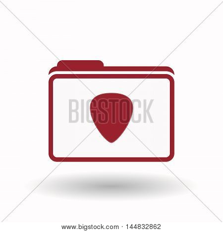 Isolated  Line Art Folder Icon With A Plectrum