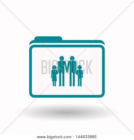 Isolated  Line Art Folder Icon With A Gay Parents  Family Pictogram