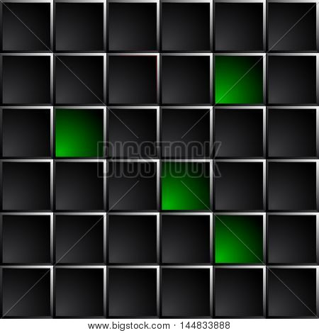 Industrial and technological dark background polished black squares. Green lights some figures.