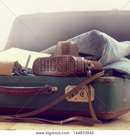 old camera notebook denim clothing suitcase / retro suitcase with things for travel
