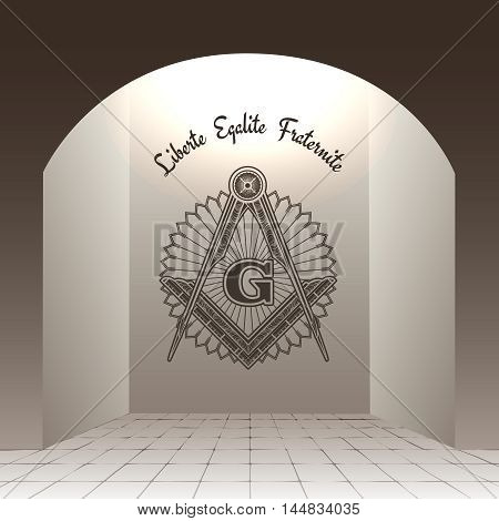 Masonic sign in arch with stone floor vector illustration. Liberte Egalite Fraternite
