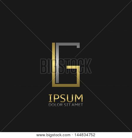 G letters logo template for your business company. Golden and silver colors