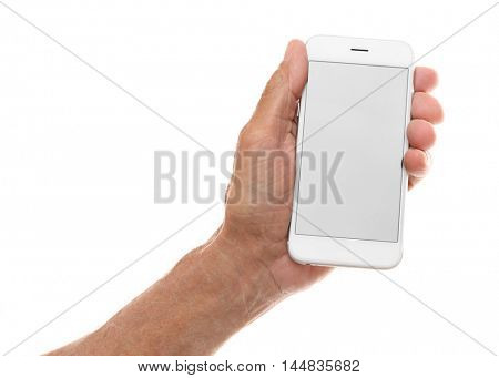 Old man holding smartphone on a white background