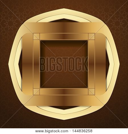 Elegant islamic template design on a brown arabic background. Golden frame in arabic style on a brown background. Vector illustration