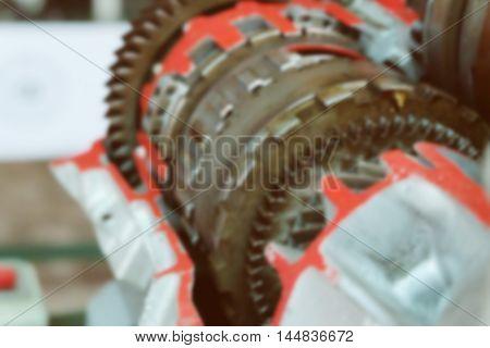 Blur image gear Motor Machine parts Car Engineering details, Close up car engine part