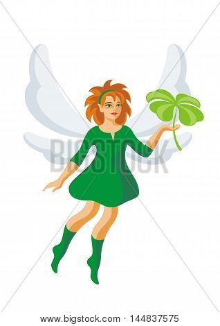 the little elf holds a leaf of a clover with four petals