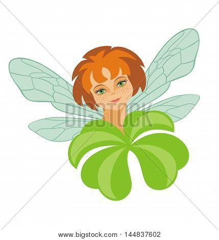 the little fairy holds a leaf of a clover with four petals