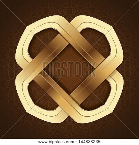 Elegant islamic template design in brown arabic background. Gold frame in arabic style on a brown background. Vector illustration