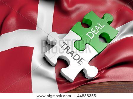 Denmark trade deals and international commerce concept, 3D rendering