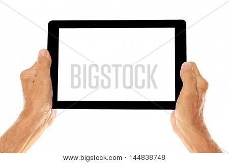 Old man holding tablet on a white background