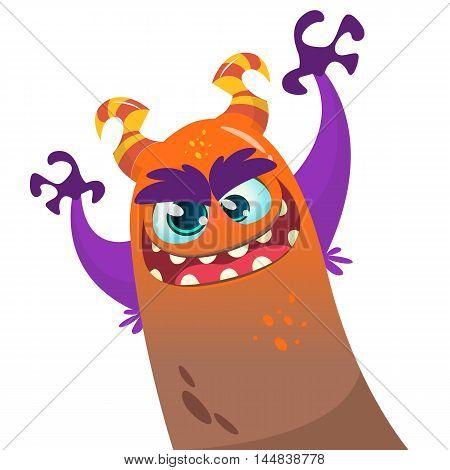 Cute cartoon brown furry monster dragon. Vector Halloween character