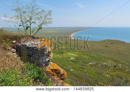 Coastal cliffs mountain Opuk. Opuksky Reserve is located on the southern coast of Kerch Peninsula.
