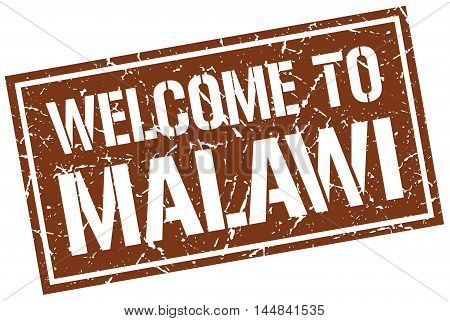 welcome to Malawi. stamp. grunge square sign