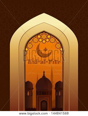Islamic beautiful greeting card with greeting lettering - Eid-al-Fitr. View of the Arab city through the arch at the mosque. Vector illustration