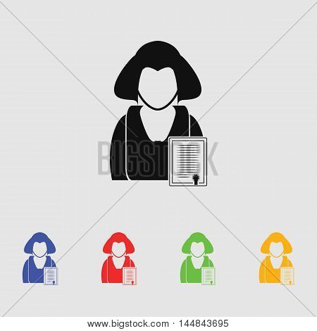 Chartered business woman vector icon for web and mobile.